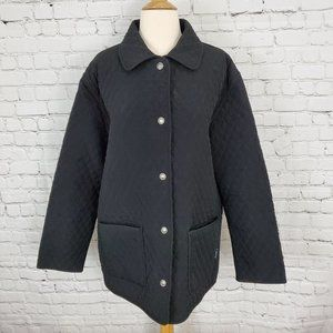 LONDON FOG Gray Black Reversible Quilted Jacket L